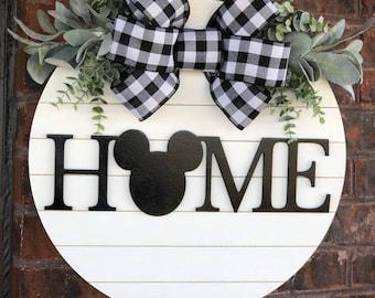 Mickey Mouse Home Door Hanger, Mickey, Disney, Magic Kingdom, mickey sign, disney sign, shiplap,