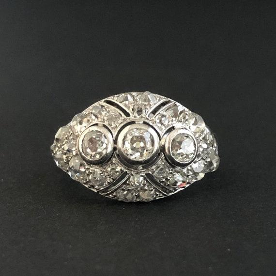 Art Deco, French, Diamond,Platinum, Bombé Ring