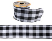 Black Buffalo Plaid Crafter 39 s Square Wire-Edge Ribbon, 2.5 quot x 9 ft. Roll