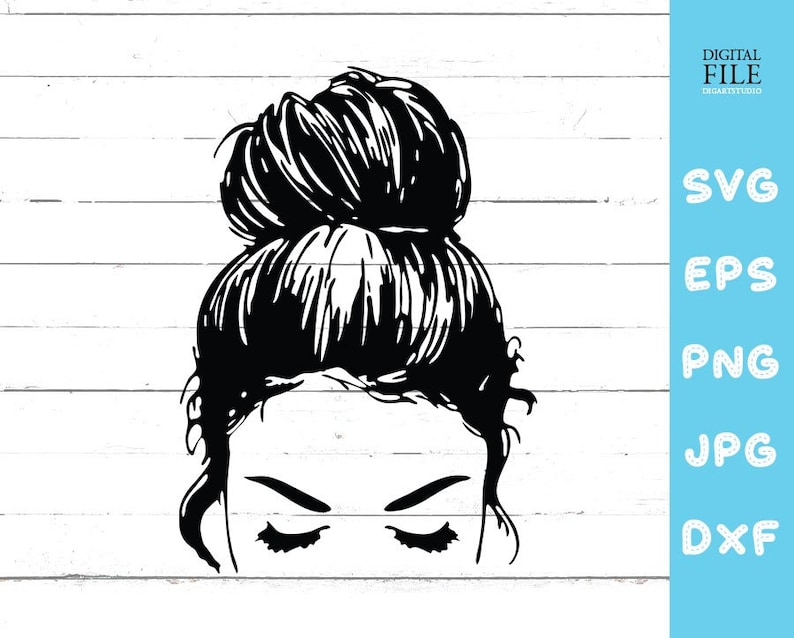All American Messy Bun Svg – 346+ SVG File for Silhouette