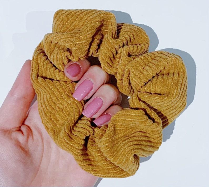hair tie corduroy scrunchie tan material texture CORDUROY SCRUNCHIE ZIPPER option! navy purple pink hair elastic blue gift
