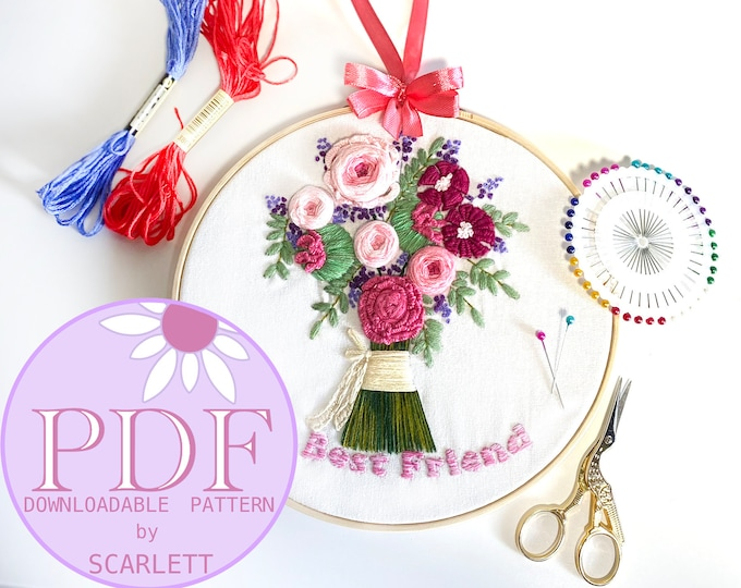 FOR MY GRANNY Floral Handheld Bouquet Hand-Embroidery Pattern
