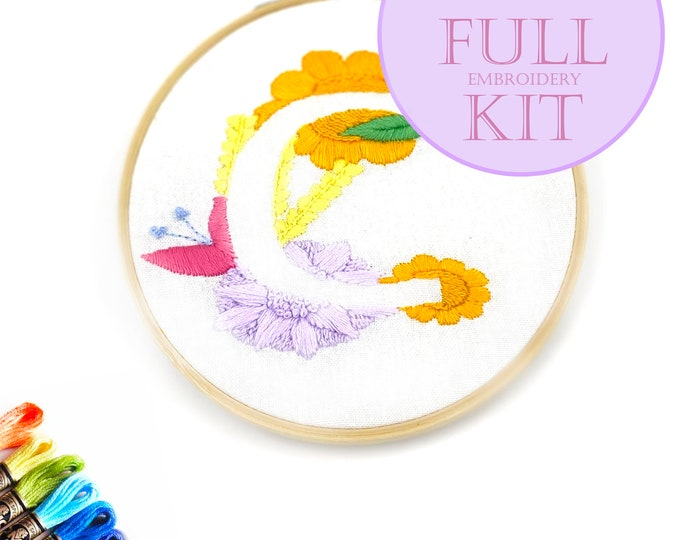 FULL-KIT Floral Initial Hand-Embroidery