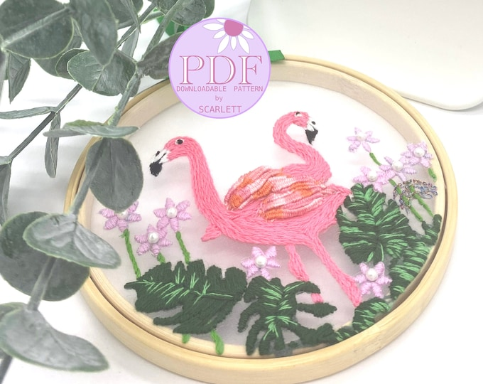 Flamingos & Pearls Hand-Embroidery Pattern