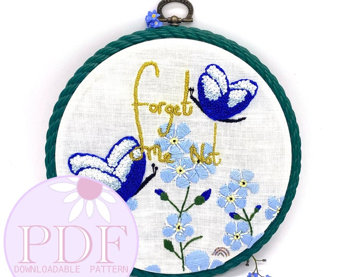 PDF PATTERN; Forget Me Not by Shell Stowell - Hand-Embroidery Pattern