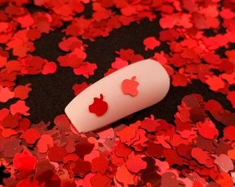 Iridescent Red Bitten Apple Glitter, Fairytale Poison Apple 3mm Resin Supplies Kawaii Glitter, Resin Embellishment, Slime, Nail Art Glitter