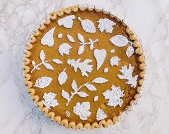 Fall Leaves Cake Stencil, Pie Stencil, Thanksgiving Table Decor, Thanksgiving Hostess Gift, Fall Cake Stencil, Fall Stencil, Gift for Baker