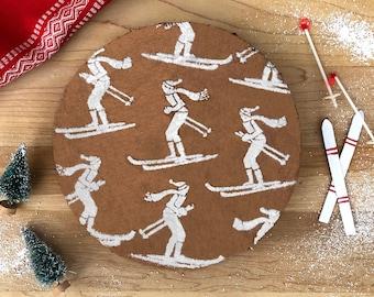 Skier Cake Stencil, Holiday Cake Stencil, Christmas Cake Stencil, Gift for Baker, Gift Idea Baker, Gift for Skier, Baking Gift, Skier Gift