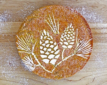 Pine Cone Cake Stencil, Winter Greens Cake Stencil, Evergreen Stencil, Winter Botanical Stencil, Nature Gift, Midwest Gift, Indiana Gift