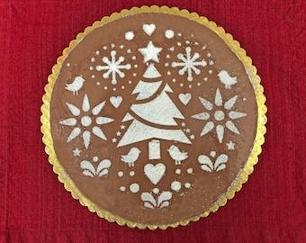 Scandinavian Christmas cake stencil, Folk Art Christmas, Folk Art Stencil, Christmas Tree Stencil, Christmas Scene, Holiday Baking