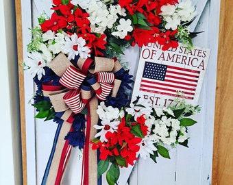 American flag wreathPatriotic Fabric flower wreathUSA wreath4th of July WreathPatriotic star wreathRustic wood Flag Patriotic wreath