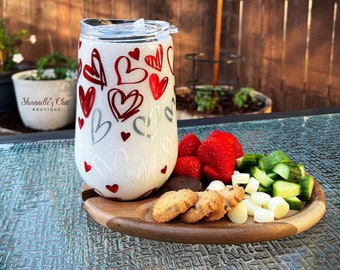 Valentines Wine Tumbler with CheeseSnack Board
