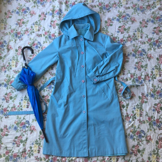80s-90s Light Blue Trench Coat with Removeable Hoo