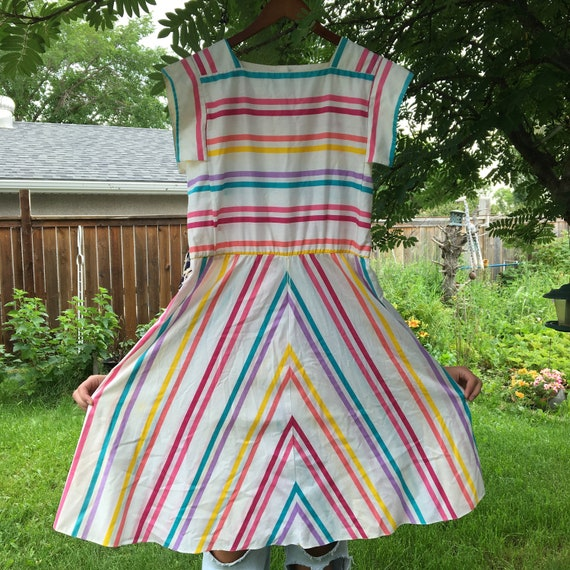 1970s Rainbow Cotton Dress