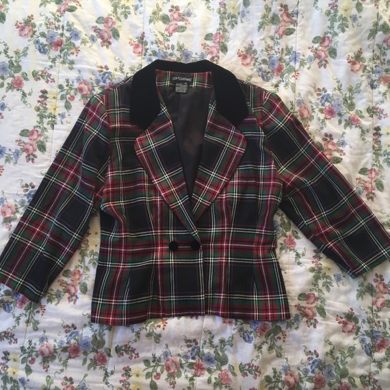 Dark Multicolour Tartan Plaid Vintage Blazer with