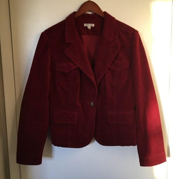 Vintage Wine Red Corduroy Blazer Jacket with Pocke
