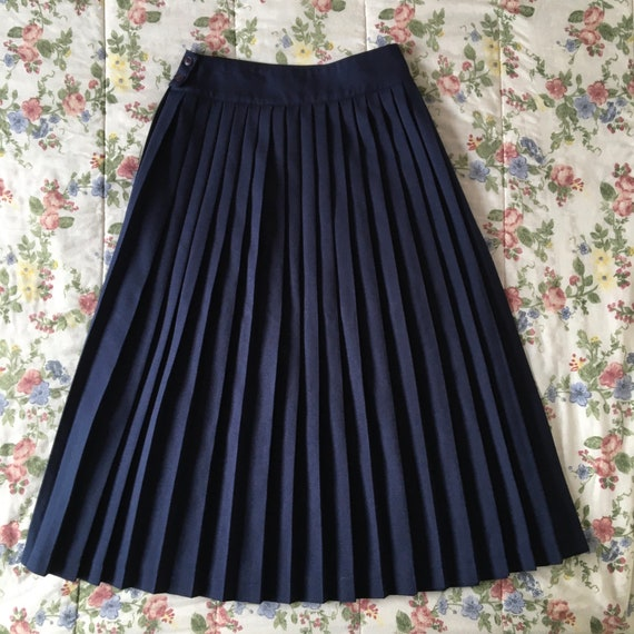 Vintage High Waisted Navy Blue Pleated Skirt - image 4