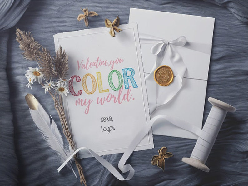 Personalised CARD Card Gifts You Color My World Valentines For School,Custom Valentine/'s Card,Gift for Him Her Husband Wife