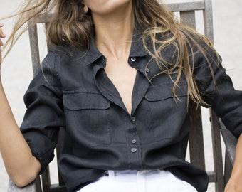 Linen Shirt Women, Linen Blouse, Linen Top, 100% linen button down, Linen Tunic Tops, Black Linen shirt, loose linen shirt, linen button up