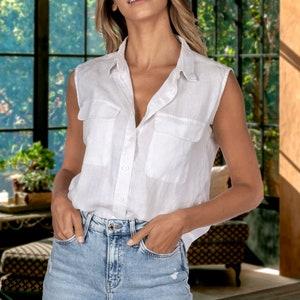 Summer White Blouse Oversized Top Linen Clothing Collared Blouse Flax Asymmetrical Shirt Gauze Linen Shirt Deconstructed White Shirt