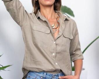 Linen Shirt, Khaki Linen Shirt, Linen Blouse, Linen Button down, Long Sleeve Linen Shirt, Linen button up, Safari shirt, 100% Linen tops