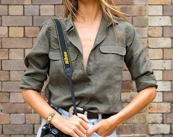 Linen Shirt Women, Green Linen shirt,  100% linen, Linen Blouse, Linen Top, Linen Tops Women, Linen Tunic,  Safari shirt, linen button up