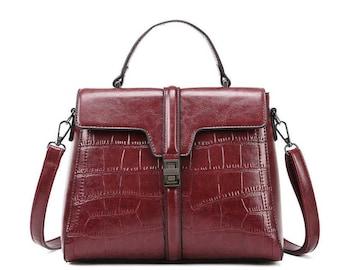 Red Crocodile Embossed Shoulder Bag