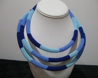 Ocean and Sky Blue Beaded Necklace