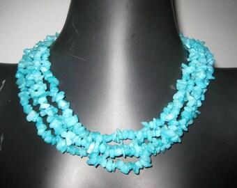 Sky Blue Chip Multi-Strand Necklace