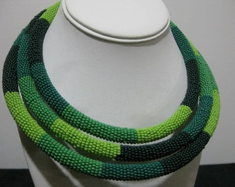 Olive, and Dark Green Seed Bead Necklace