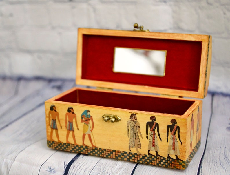 Ancient Egyptian wooden storage box  purse with red leather handle