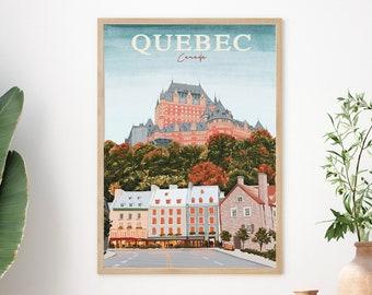 Quebec Travel Poster,Canada Poster,Quebec Print,Quebec Vintage Poster,Quebec Wall Art,Quebec Travel Art,Travel Art Print,Canada Wall Art