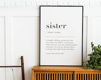 Siblings gift sisters art print gift idea WITH CUSTOM QUOTE