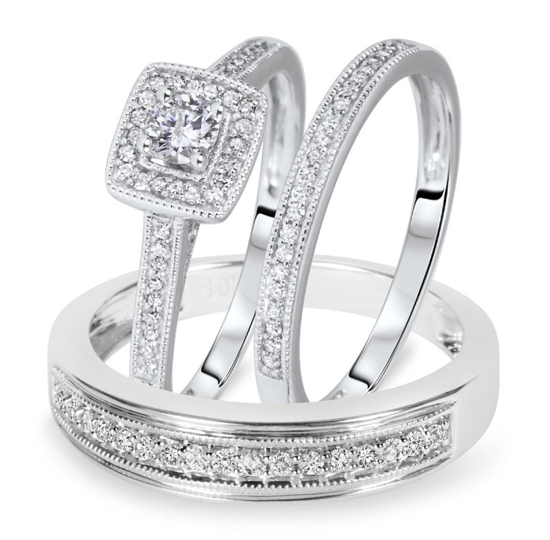 His and Hers Matching Wedding Band Ring Set 0.50 Ct Simulated Diamond 14K Gold Plated 925 Sterling Silver Engagement Trio Set Ring