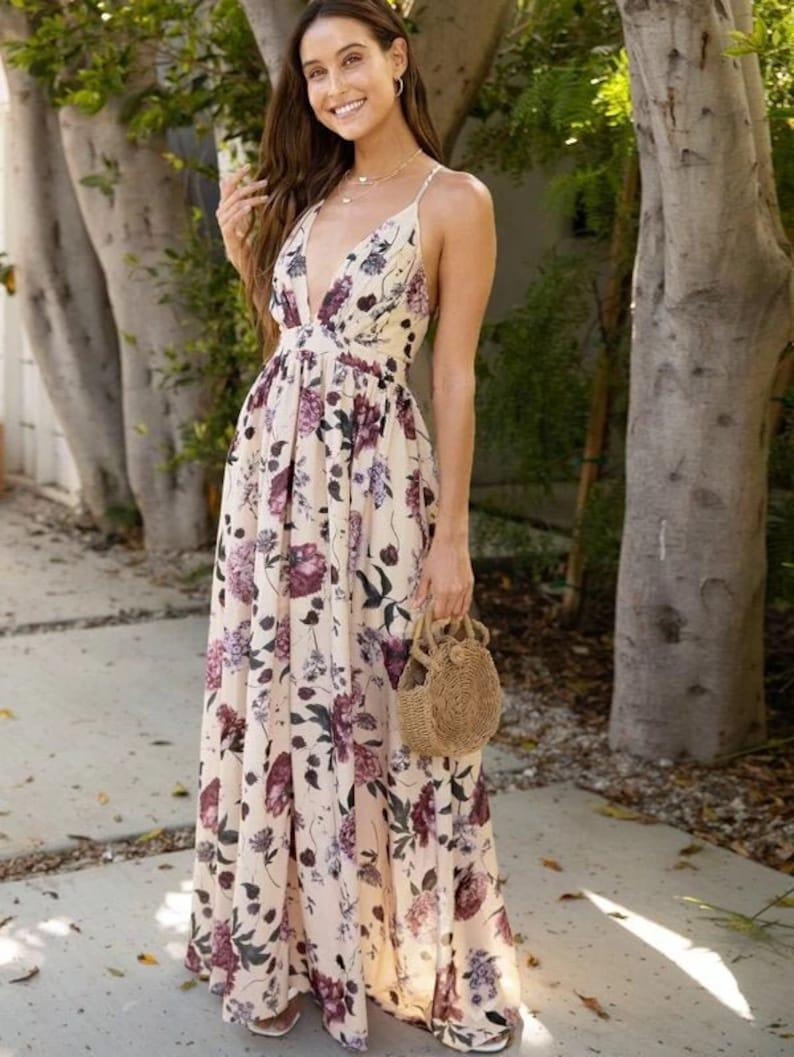 Dress For Women Crisscross Backless Dress Flower Dress image 0