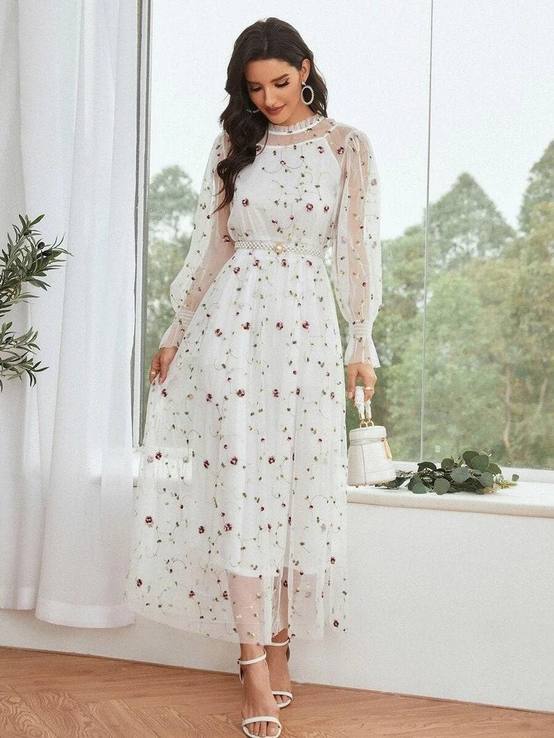 Dress For Women Embroidery Mesh Overlay Shirred Waist Dress White