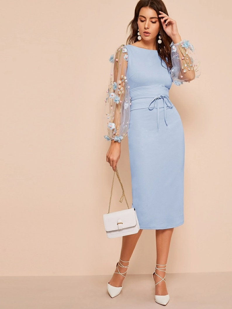 Dress For Women Appliques Mesh Sleeve Corset Belted Pencil image 0