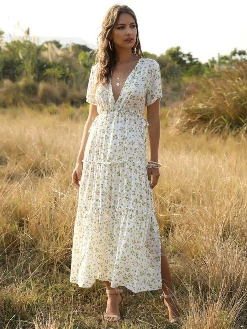 Dress For Women Ditsy Floral Lettuce Frill Ruffle Hem Split White