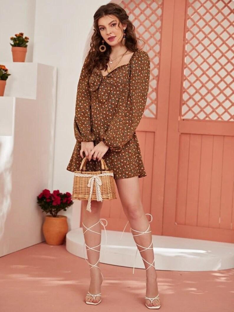 Boho Dress Short Dress| Dress For Women Gift For Women Ditsy Floral Dress Spring Dress Mini Dress Fall Dress