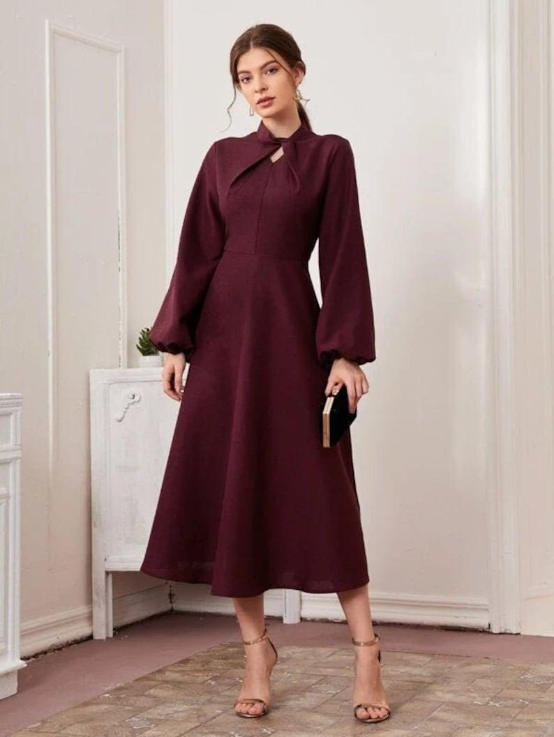 Twist Detail Dress Long Party Dress Sring Dress Maxi Dress Dress For Women Modest Dress Wedding Dress Elegant Dress Fall Dress