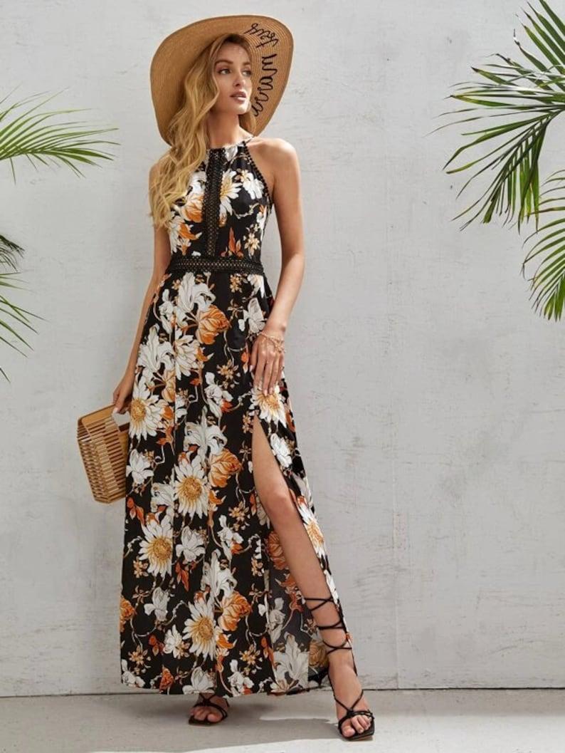 Dress For Women Cami Dress Boho Dress Flower Dress Sring Black