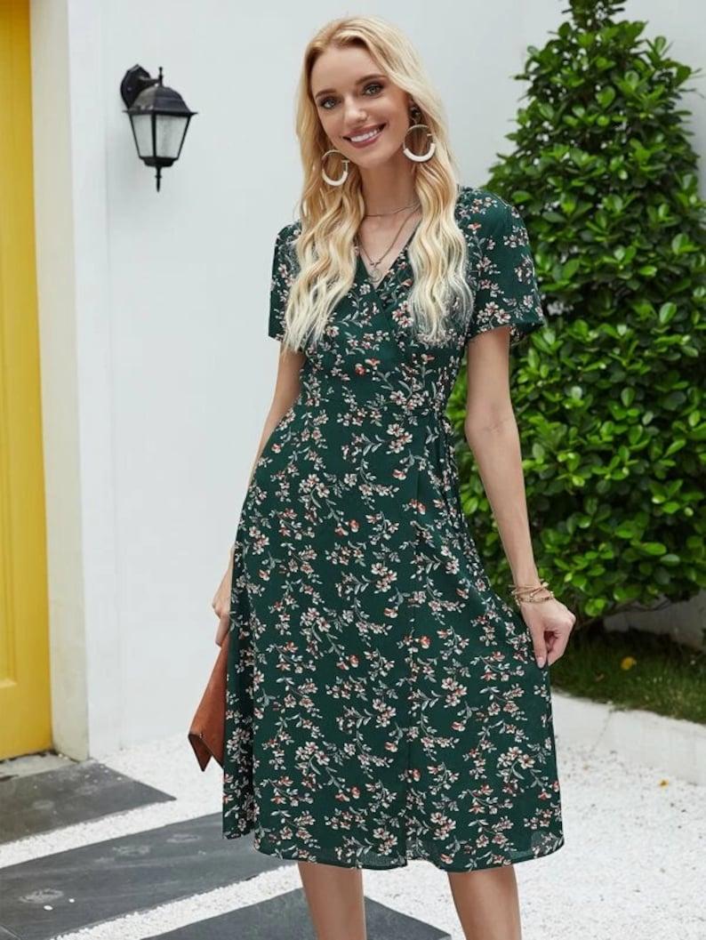 Dress For Women Knotted Floral Dress Boho Dress Flower Dark Green