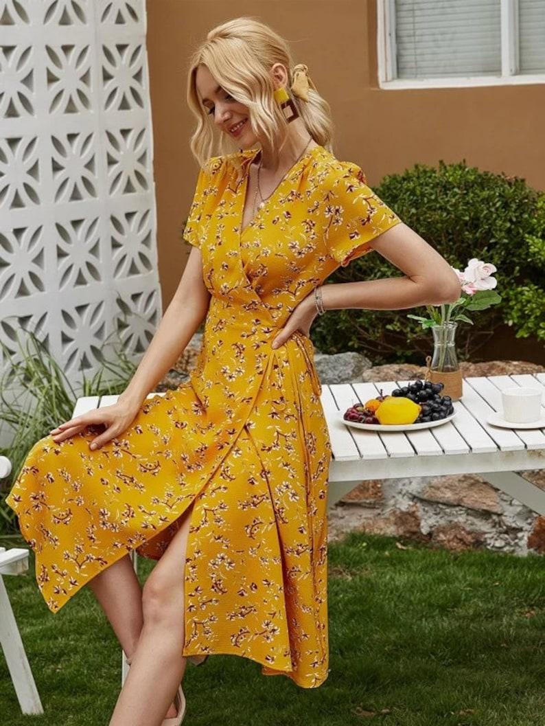 Dress For Women Knotted Floral Dress Boho Dress Flower Yellow