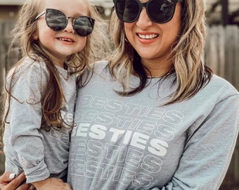 Besties Long Sleeve Tee, Mommy and Me Shirt Set, Mom and Daughter Shirts, Matching Family Shirts, Mommy and Me Shirts, Mommy And Me Outfits