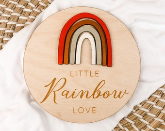 Rainbow Baby Sign, Wood Nursery Sign, Birth Announcement, Rainbow Baby Announcement, Baby Shower Gift, Rainbow Baby, Nursery Decor