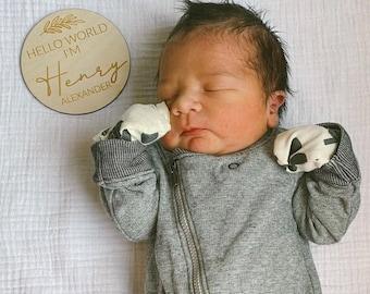 Hello World Birth Announcement Sign, Engraved Baby Name Wooden Round Sign, Newborn Photo Prop, Hello my name is wood sign