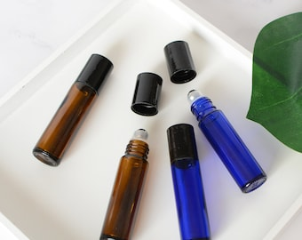 10ml Amber Brown Blue Glass Roller Bottles, Essential Oil Roller Bottles, Personal Care Aromatherapy Oil Bottles Roll-on-ball Perfume Roller