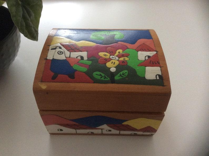 La Palma Folk Art from El Salvador Painted Real Wood Jewelry Box