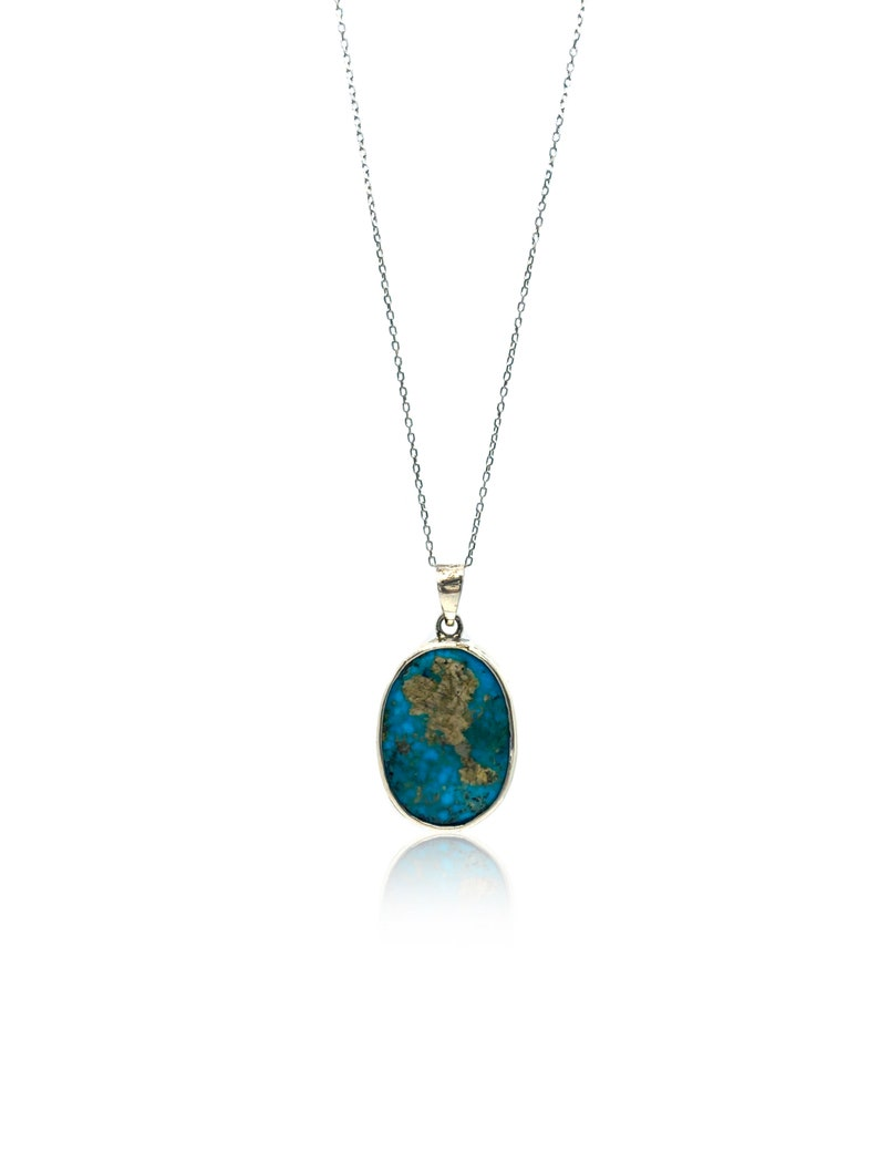 Handmade Silver Necklace With Turquoise Stone