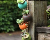 4pcs Wall-mounted Ceramic Flower Pot Hanging Succulent Flower Pot Cactus Bonsai Planters